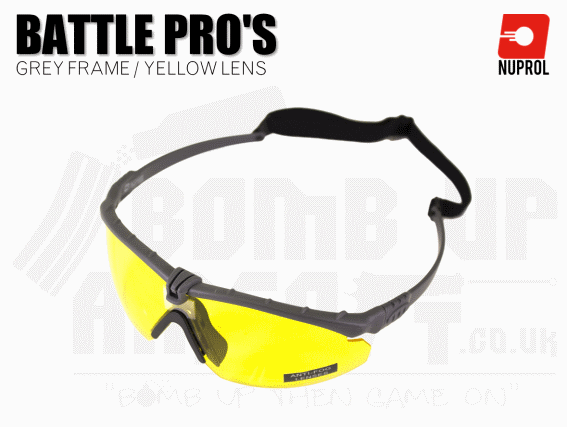 Nuprol PMC Battle Pro Eye Protection With Inserts - Grey Frame/Yellow Lens