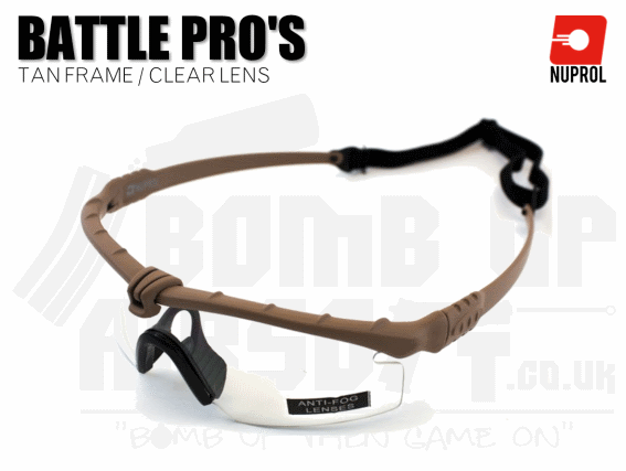 Nuprol PMC Battle Pro Eye Protection With Inserts - Tan Frame/Clear Lens