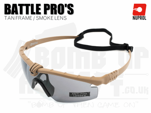 Nuprol PMC Battle Pro Eye Protection With Inserts - Tan Frame/Smoke Lens