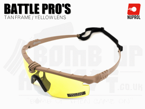 Nuprol PMC Battle Pro Eye Protection With Inserts - Tan Frame/Yellow Lens
