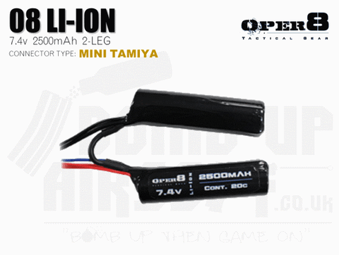 Oper8 7.4v Li-Ion 2500mah Split Style battery - Tamiya