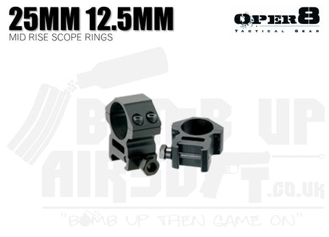 Oper8 Mid Rise Scope Rings 25mm - 12.5mm