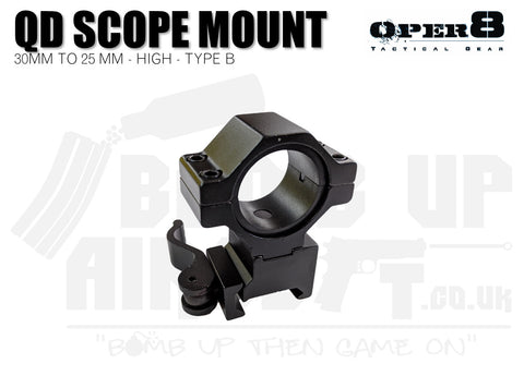 Oper8 30mm to 25mm Scope/Torch Mount - High - Type B
