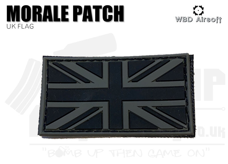 UK Flag PVC Patch - Black and Grey