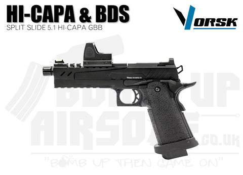 Vorsk Hi-Capa 5.1 Split Slide With BDS GBB Airsoft Pistol - Black