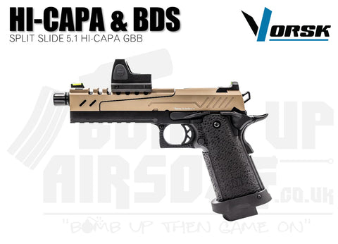 Vorsk Hi-Capa 5.1 Split Slide With BDS GBB Airsoft Pistol - Tan/Black