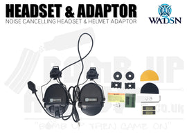 WADSN Noise Cancelling Headset With Helmet Adaptor - Black
