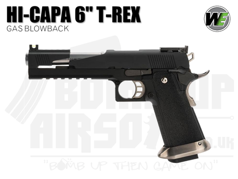 "WE Hi-Capa 6"" T-Rex Custom With Titanium Barrel - Black - GBB Airsoft Pistol"