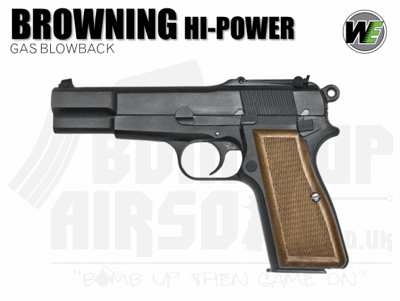 WE Browning Hi-Power GBB Airsoft Pistol - Black