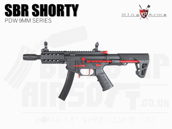 King Arms PDW 9mm SBR Shorty - Black and Red