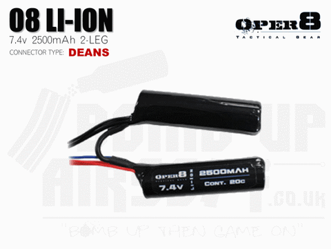 Oper8 7.4v Li-Ion 2500mah Split Style battery - Deans