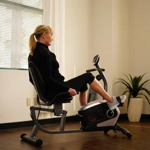 MAGNETIC RECUMBENT EXERCISE BIKE, 300LB CAPACITY & EASY ADJUSTABLE SEAT