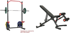 Power Zone Power Cage Squat Stand Rack with Adjustable Weight Bench Special Combo