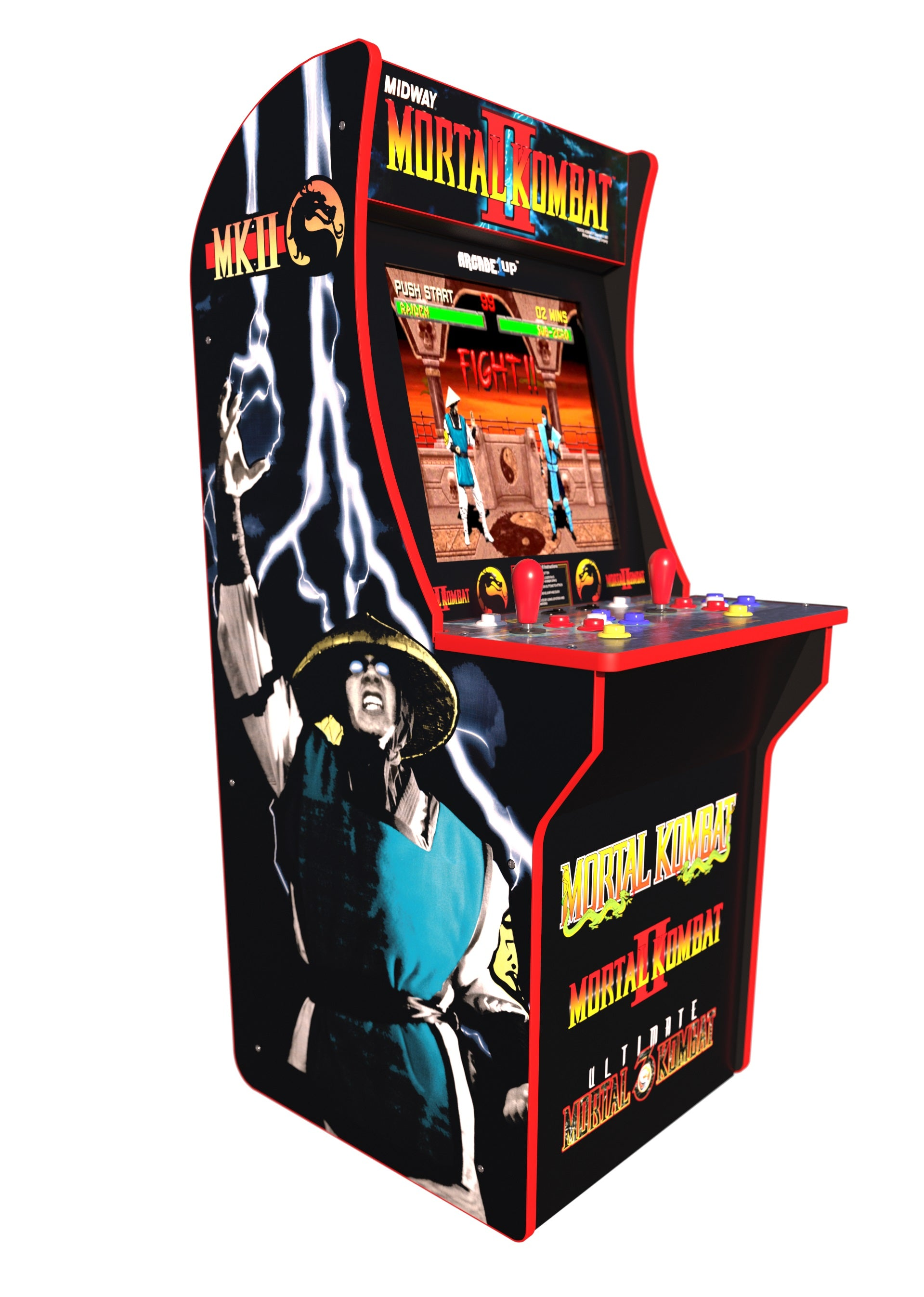 Mortal Kombat Arcade Machine with 3000 Games (Pac Man, Ms. Pac Man, Galaga, Tetris and many more) PLUS a Bonus of 50 3D Games. Includes Riser and Commemorative Stool! (Huntsman Farms Exclusive)
