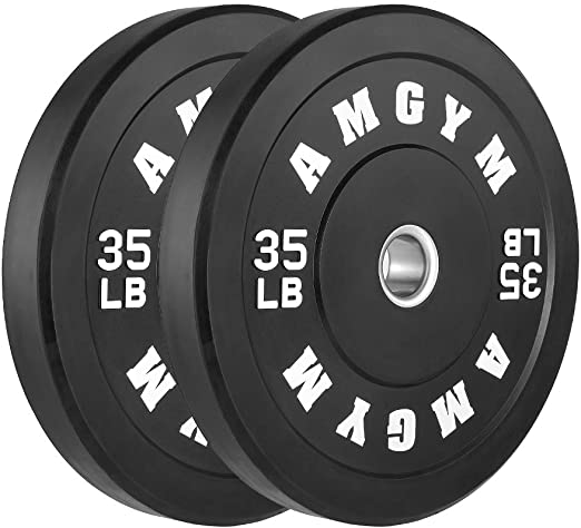 Rubber Bumper Plates, Steel Insert, Strength Training, Pairs