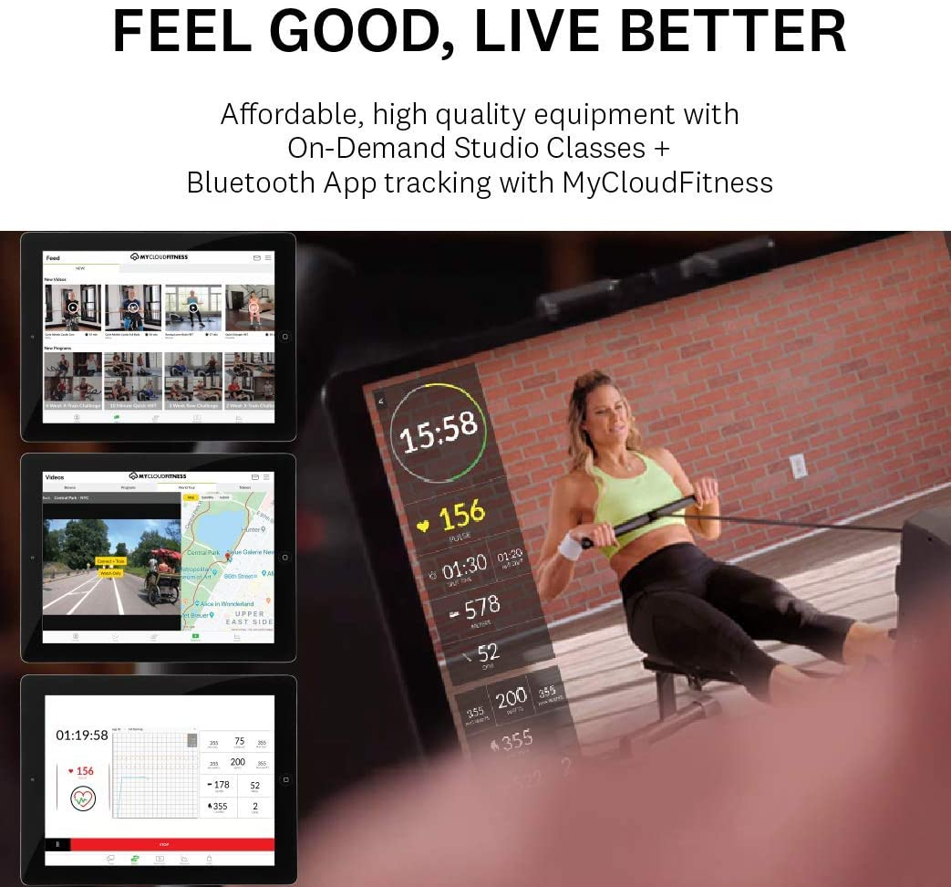 Women's Health Men's Health Bluetooth Rower Rowing Machine with MyCloudFitness App, Black Home Gym
