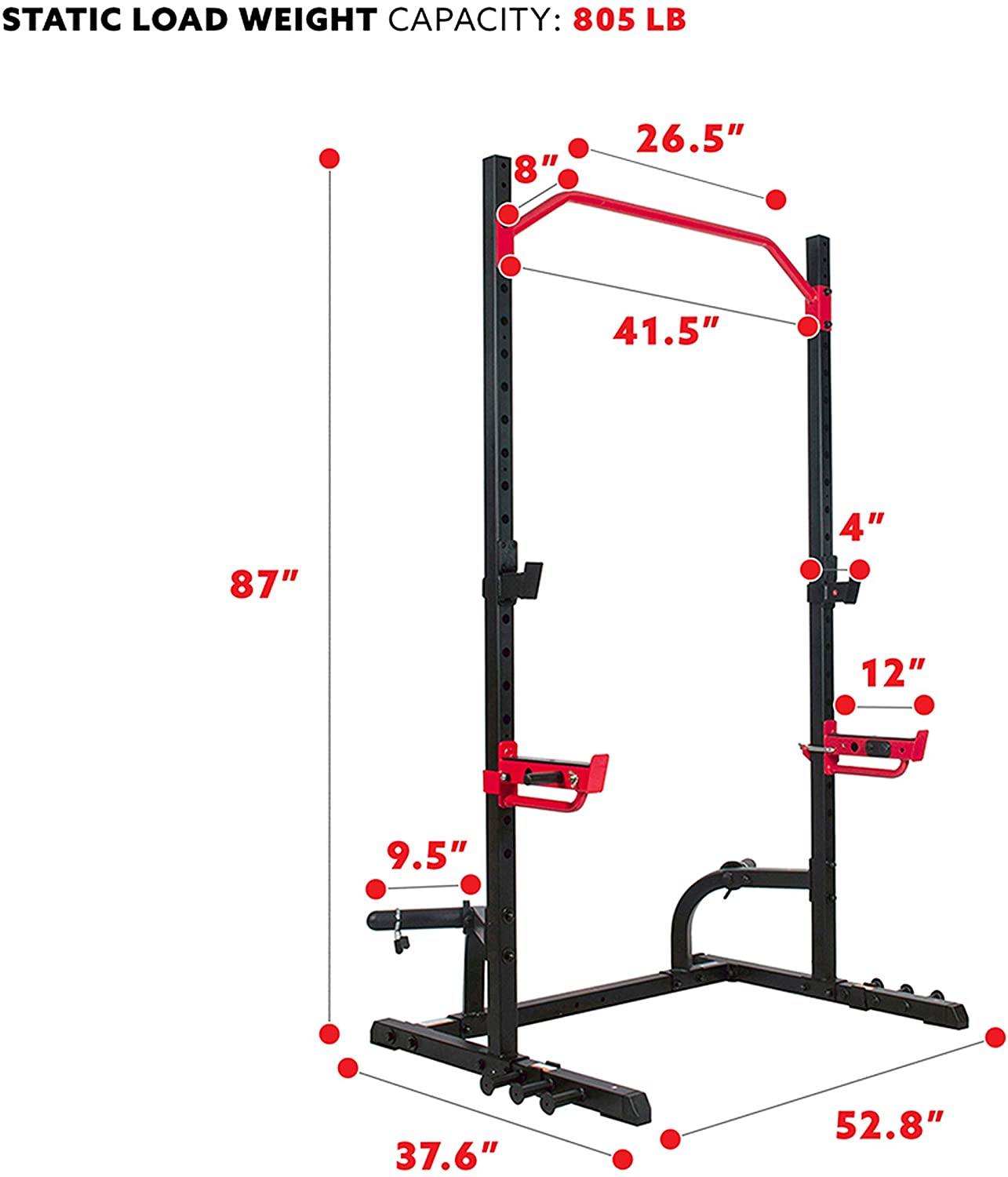 Power Zone Squat Stand Rack Power Cage - Black/Red