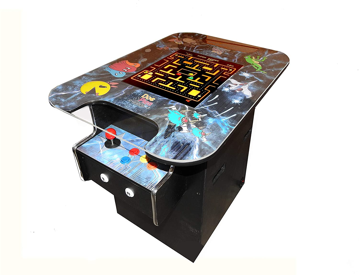 Arcade Factory Cocktail Machine - 3000 Retro Games - Full Size LCD Screen, Buttons and Joystick