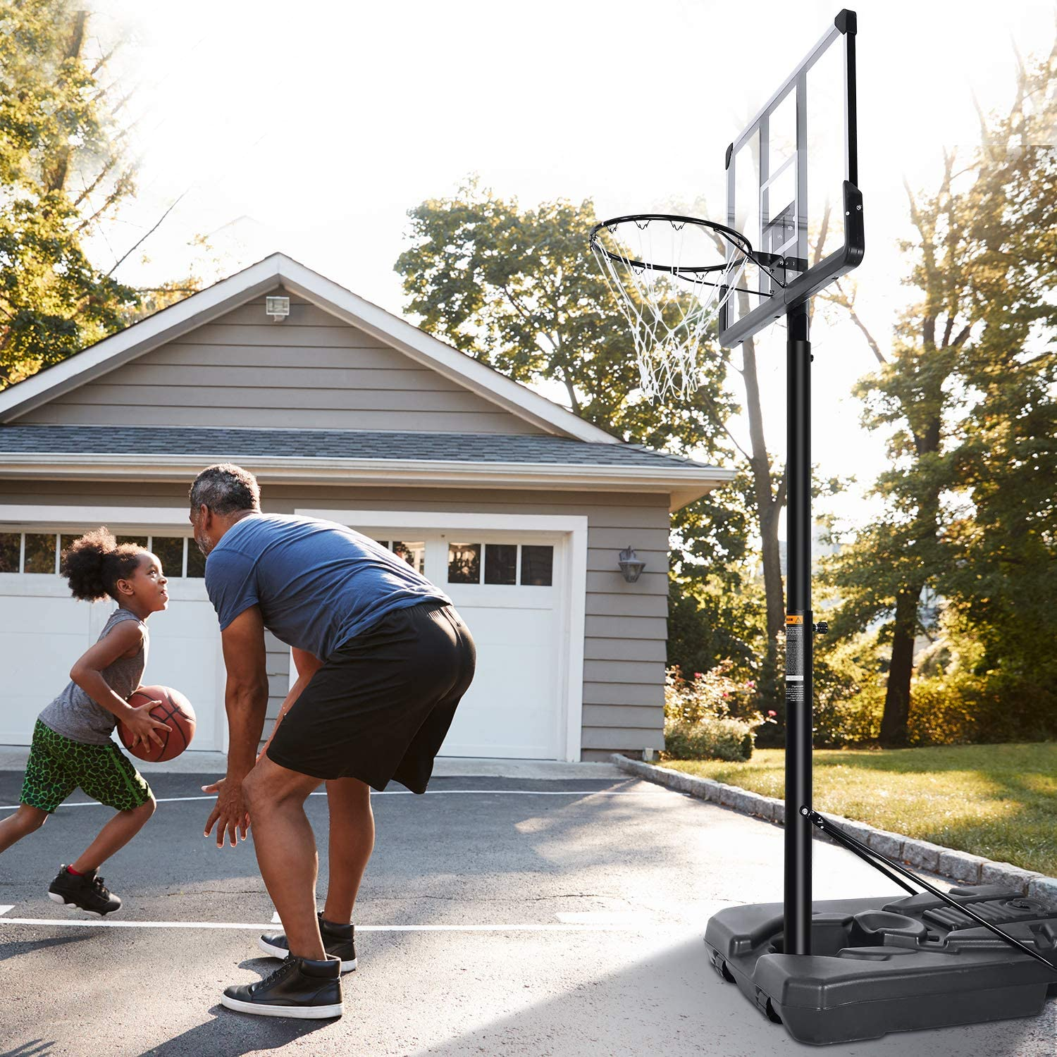 Portable Basketball Hoop & Goal Basketball System Adjustable 7ft 6in-10ft with 44 Inch Backboard and Wheels ndoor Outdoor Use