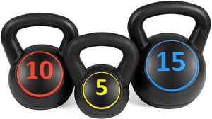 Best Choice Products 3-Piece HDPE Kettlebell Exercise Fitness Weight Set w/ 5lb, 10lb, 15lb Weights, Base Rack