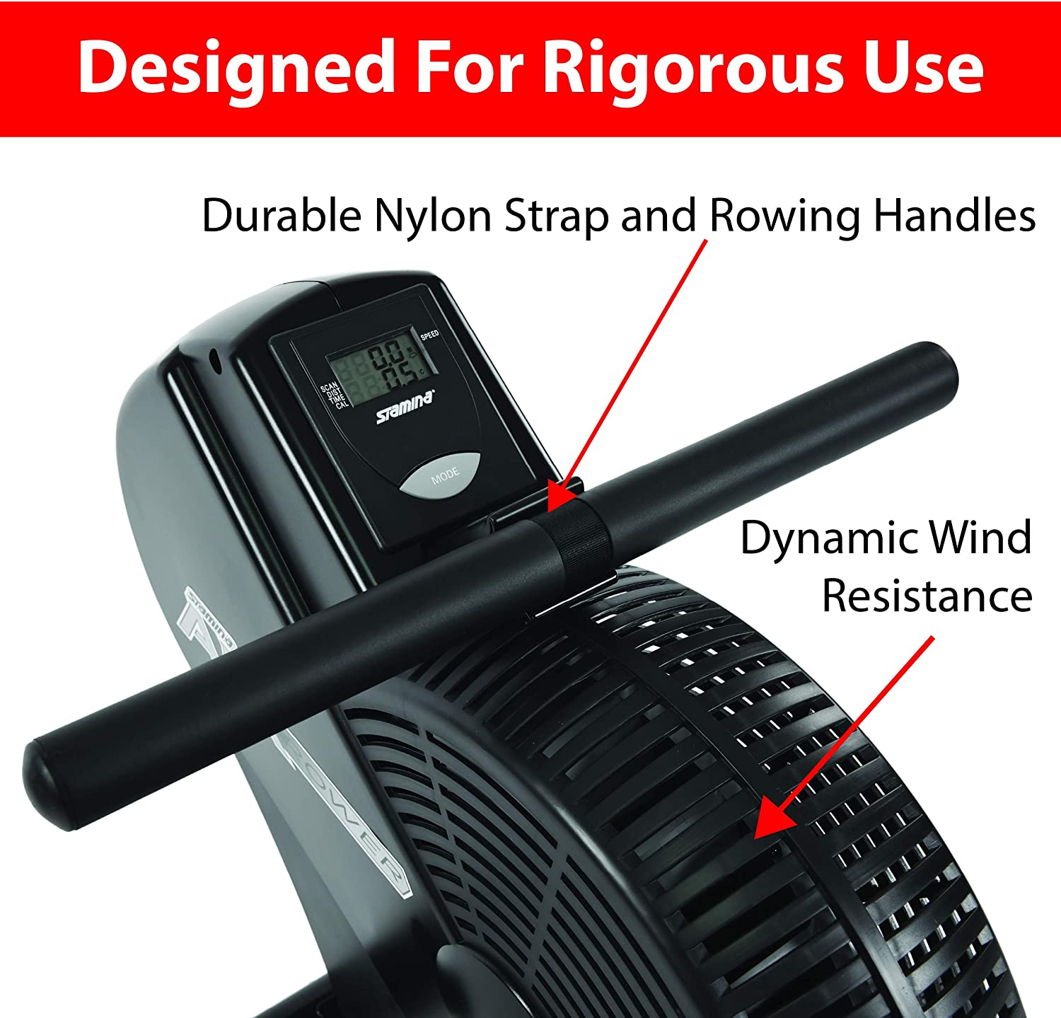 Stamina ATS Air Rower | Rowing Machine | LCD Monitor | Dynamic Air Resistance | Folding Design | Tone Muscle and Health Home Gym