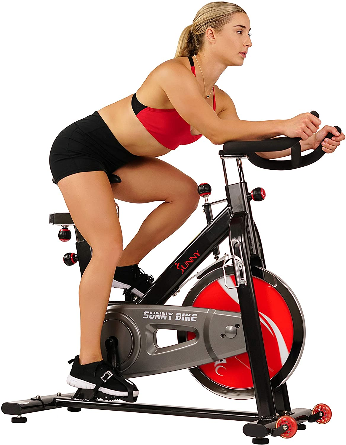 Sunny Health & Fitness Exercise Cycling Bike with Heavy 49 LB Chrome Flywheel - Home Gym