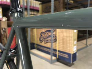 #127 -4130 Fixed Gear / Single Speed - Army Green w/ Bullhorn Bars -  55cm - Excellent Condition (Photo Model) by State Bicycle Co.