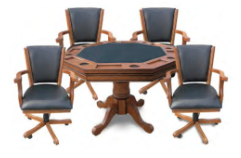 KINGSTON OAK 3-IN-1 POKER TABLE W/ 4 ARM CHAIRS