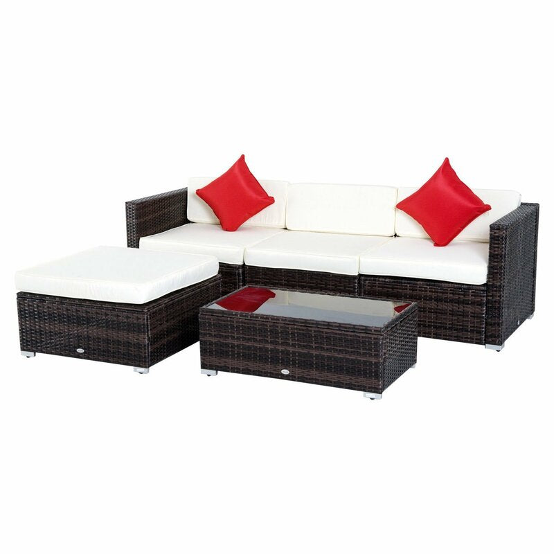 5 Piece Patio Sectional Seating Group with Cushions