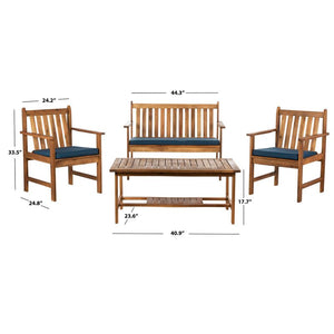 4 Piece Patio Loveseat Seating Group with Cushions