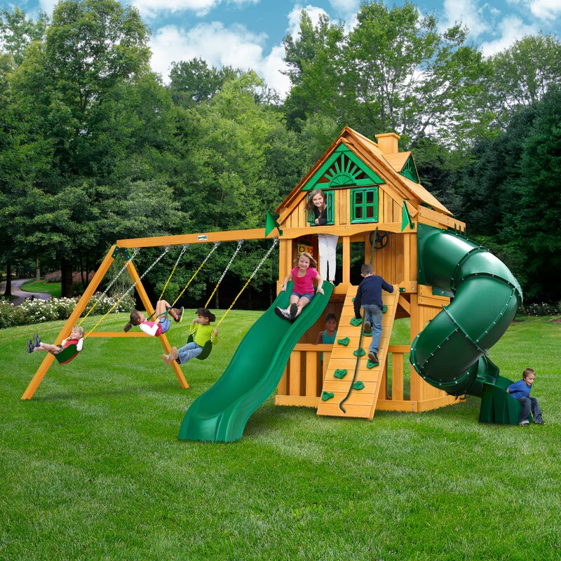 Mountaineer Clubhouse Playground and Swingset With Fort Ad On