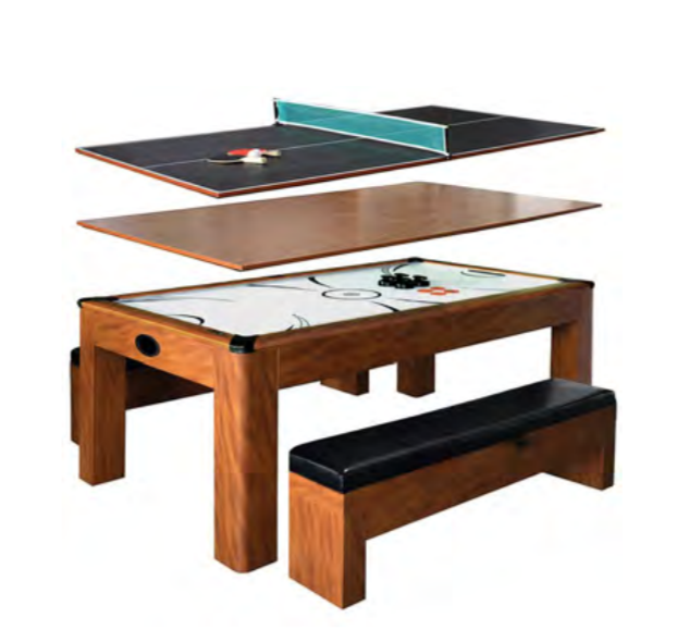 SHERWOOD 7-FT AIR HOCKEY TABLE W/ BENCHES