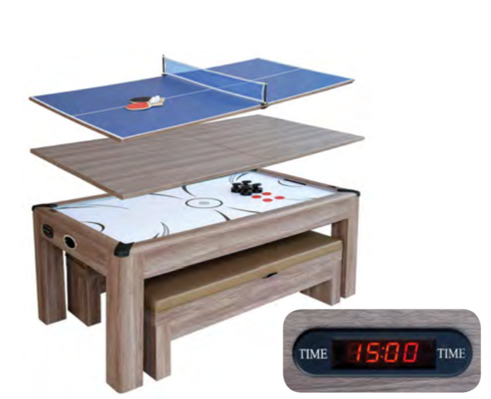 DRIFTWOOD 7-FT AIR HOCKEY TABLE TENNIS COMBO SET W/ BENCHES