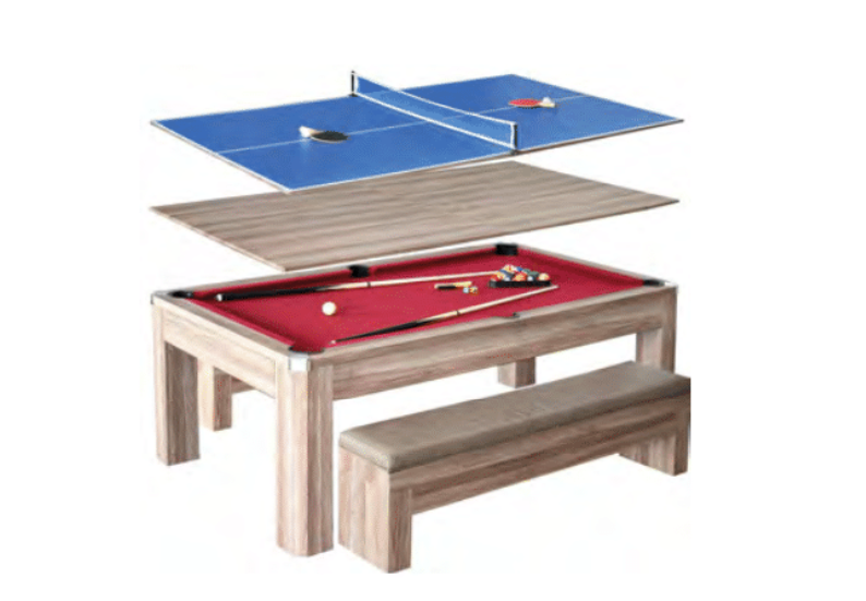 NEWPORT 7-FT POOL TABLE COMBO SET W/ BENCHES