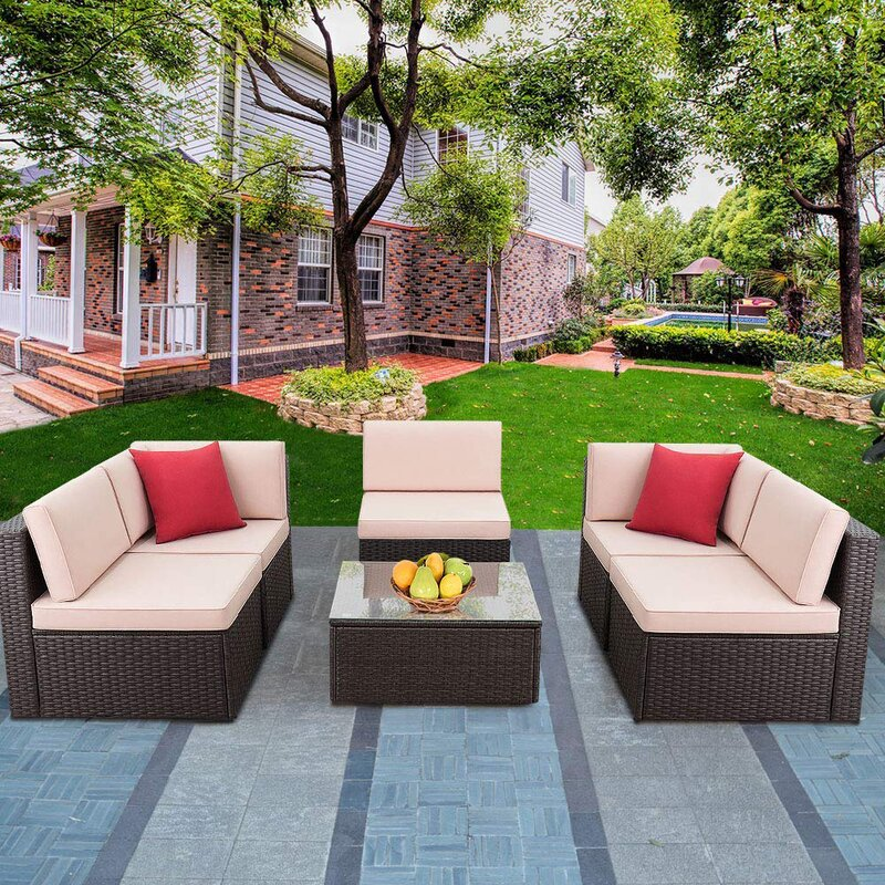 6 Piece Patio Sectional Seating Group with Cushions
