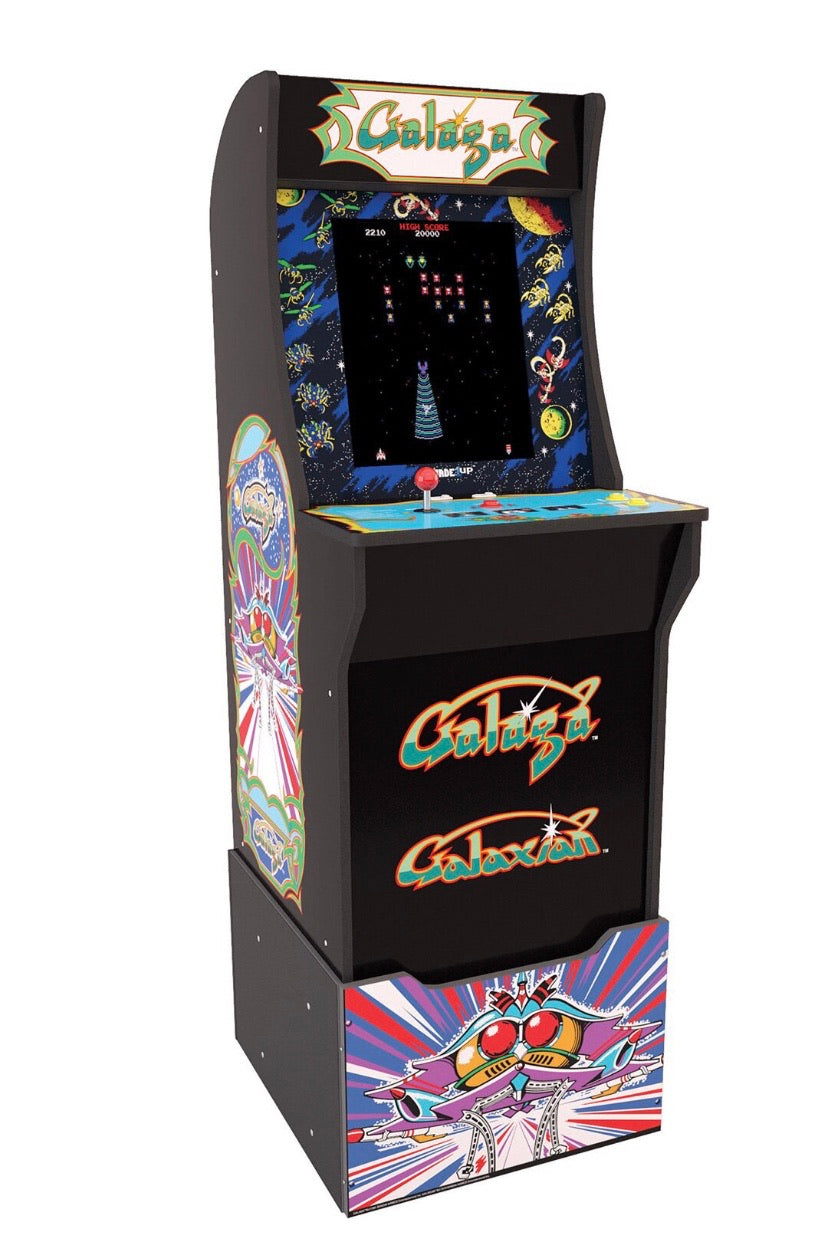 Galaga Arcade Machine with 3000 Games (Pac Man, Ms. Pac Man, Galaga, Tetris and many more) PLUS a Bonus of 50 3D Games. Includes Riser and Commemorative Stool! (Huntsman Farms Exclusive)