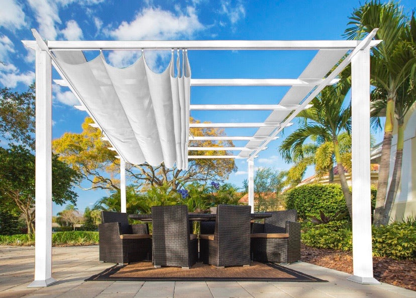 "11'6"" W x 11'6"" D Metal Pergola with Canopy"