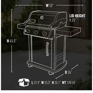 Weber 46502001 Spirit S-315 LP Gas Grill, Stainless Steel