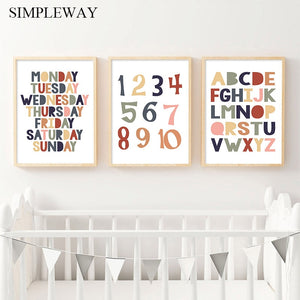 Alphabet Numbers Baby Enlightenment Educational Nursery Poster Wall Art Canvas