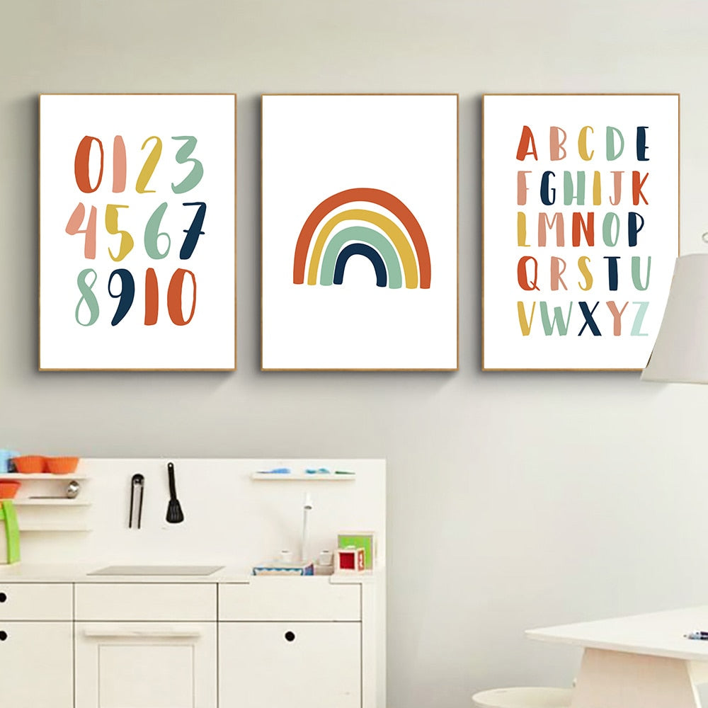 Wall Art Canvas Nordic Poster Printed For Kids Alphabet Educational Pink Rainbow Painting
