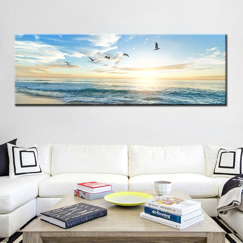 Natural Sea Beach Flying Birds Landscape Posters and Prints Canvas Painting Wall Art