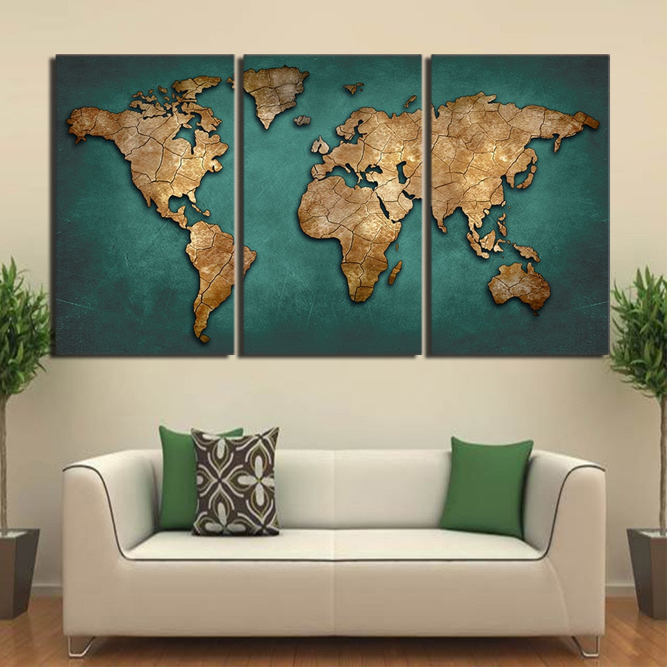 Canvas Prints Paintings Wall Art Framework Fashion Vintage Continent Pictures 3 Pieces World Map Posters