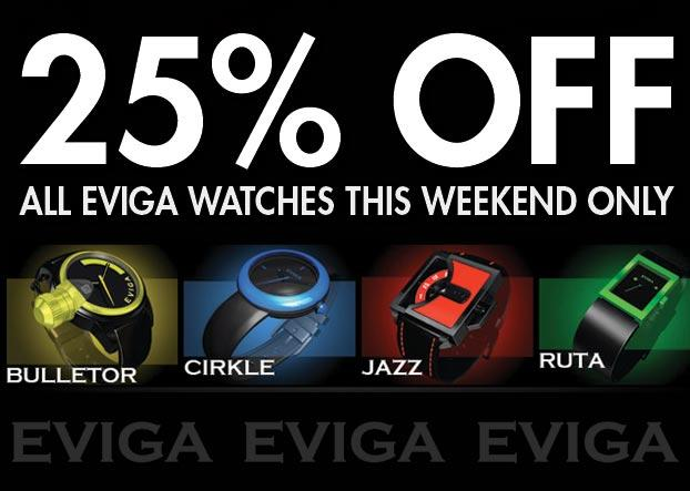 25% Off all Eviga Watches: this weekend only - WatchCo.com