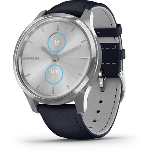Garmin vívomove Luxe Unisex Navy Italian Leather Band Light Grey Ana-Digi Dial Hybrid Watch - 010-02241-00 - WatchCo.com