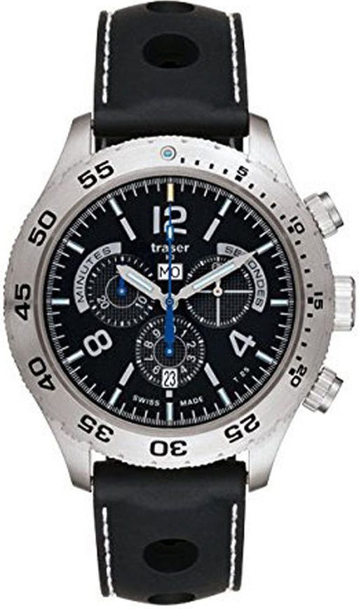 Traser Mens Classic Elegance Chronograph Stainless Watch - Black Rubber Strap - Black Dial - 105036