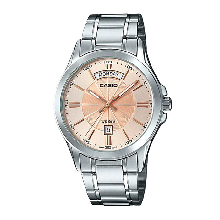 Casio Mens Enticer Series Stainless Steel Band Ion Plated Wrist Watch - MTP-1381D-9AV