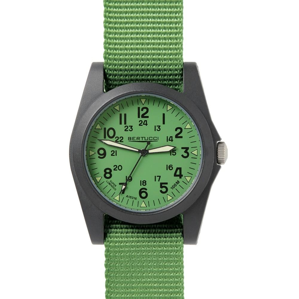 Bertucci Mens Fiber Reinforced Poly-Resin Case Green Dial Green Nylon Band Round Watch - 13360
