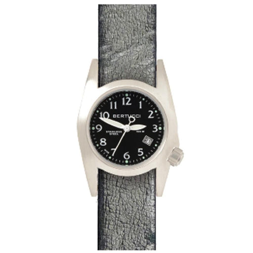 Bertucci M-1S Womens Granite Gray Leather Band Black Quartz Dial Watch - 18026 - WatchCo.com