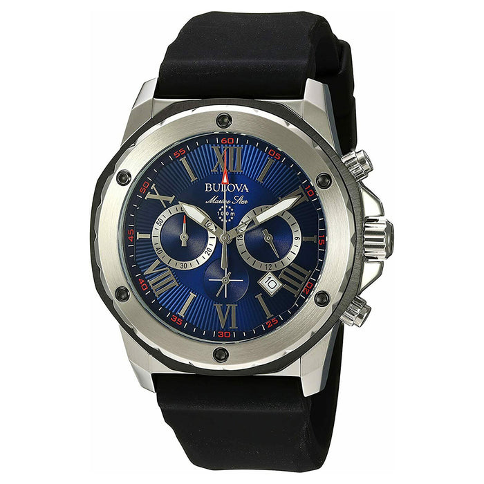 Bulova Mens Marine Star Chronograph Stainless Steel Blue Dial Black Silicone Strap Watch - 98B258