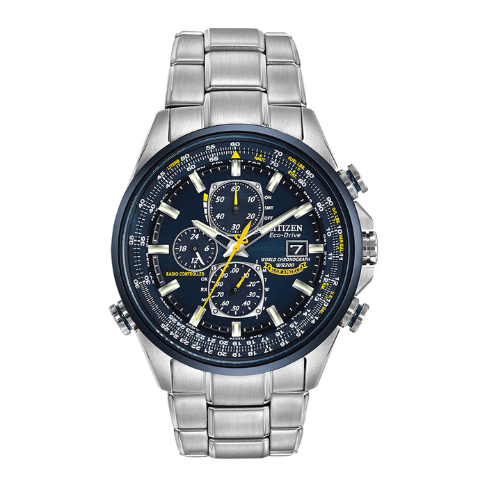 Citizen Eco-Drive Mens Stainless Steel Case and Bracelet Blue Dial Silver Watch - AT8020-54L